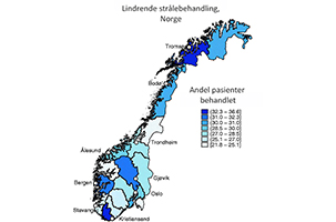 Norgeskart som fylkesvis viser andelen pasienter som harb fått lindrende strålebehandling
