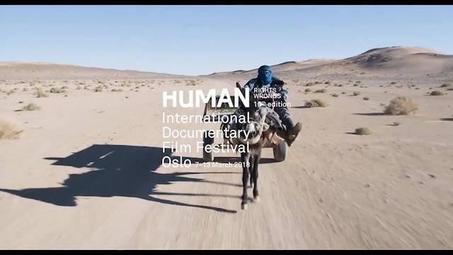 Photo of a horse-ridden carriage in a dessert landscape, the cover picture of the HUMAN International Documentary Film Festival