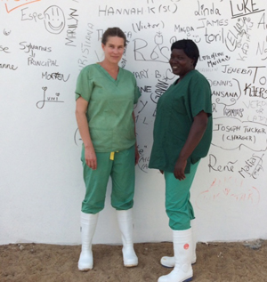 Janne G. Hunsbeth and colleague in Sierra Leone