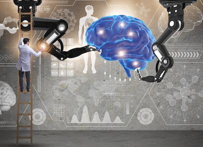brain-machine illustration of artificial intelligence