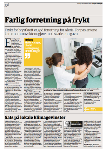 Screenshot of newspaper Dagens Næringsliv