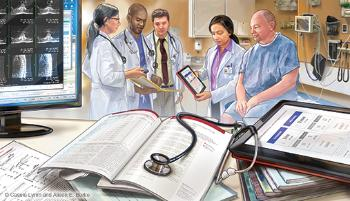Illustration of patient and doctors using an ipad