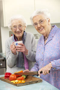 Two old ladys in a kitchen