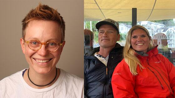 Profilbilde Dussage (t.v.) i kollasj med et privat bilde av ekteparet Olsen og Bjørnstad.