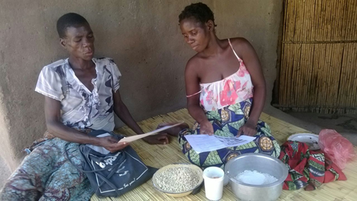 A community volunteer offering nutrition counselling during a home visit in Malawi
