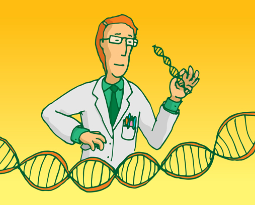 scientist researching genes or manipulating dna sequence