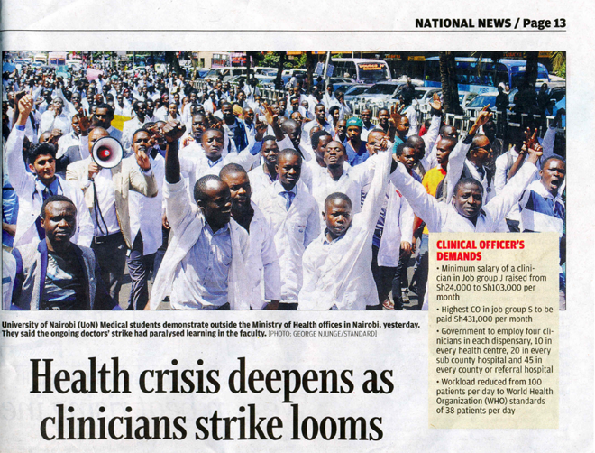 Newspaper with Health Workers on strike