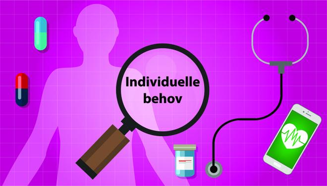 illustrasjon av forstørrelsesglass og pasient
