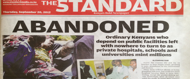 Front of newspaper in Kenya