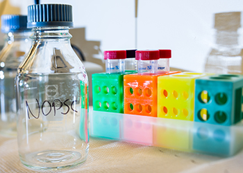 Glass bottle with the writing NOPSC in marker next to multi coloured blood sample rack with four test tubes.