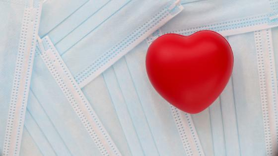 Image of face masks and a heart