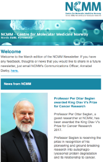 Screenshot of NCMM Newsletter, March 2017