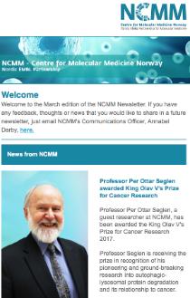 Screenshot of NCMM Newsletter, March 2017