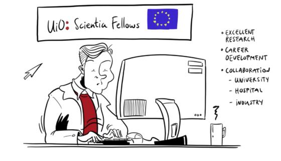 Cartoon advertisement for Scientia Fellows program