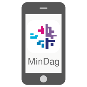 Cell phone icon with the Min Dag app logo