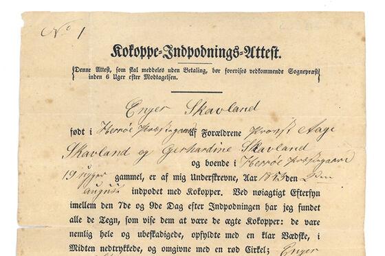 Et gammelt papirark med påtrykt og påskrevet skrift.